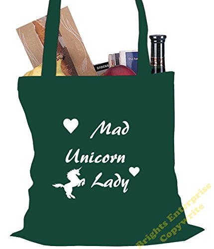 wording Crazy from bag the Bag Christmas litres Tote 10 Shopping Beach or 42 tote Size Lady original with Unicorn Birthday range 32 Gym stocking unique our ide Green cm 38 x reuseable gift filler An wq0Uq8