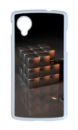 Google Nexus 5 Case,MOKSHOP Cool Three dimensional Rubik cube Hard Case Protective Shell Cell Phone Cover For Google Nexus 5 - PC White