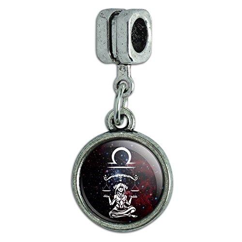 Zodiac Symbol Sign Italian Charm (Libra Scales Zodiac Sign Horoscope in Space Italian European Style Bracelet Charm Bead)