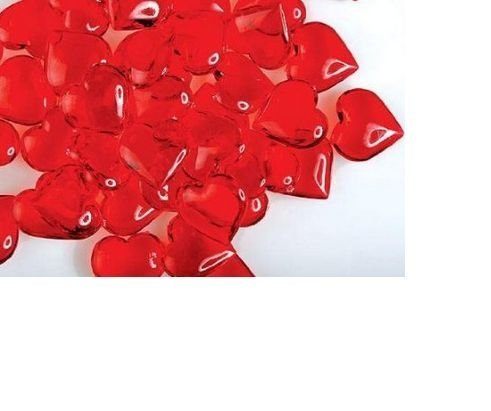 Valentine's Day Gifts & Decorations (Heart-Shaped Plastic Gems) Acrylic Hearts for Vase Fillers, Table Scatter, or Decoration (Jewel Heart Box Wedding Favors)