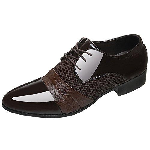 Negocios Apuntado Cuero De Transpirable Derby Brogues Puntera Hombre Wealsex Marrón Oxford Zapatos qYZava