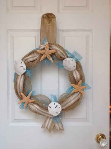 Beach-Seashore-Door-Welcome-Wreath-Real-Sand-Dollars-Starfish-Slim