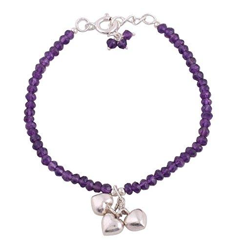 - NOVICA Amethyst .925 Sterling Silver Beaded Bracelet, 7.5