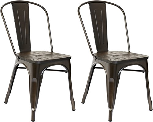 Pioneer Square Beja Metal Dining Chair with Wood Seat, Set of 2, Woodland Brown