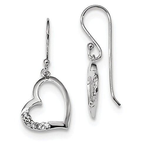 925 Sterling Silver Cubic Zirconia Cz Heart Drop Dangle Chandelier Earrings Love Fine Jewelry Gifts For Women For Her ()