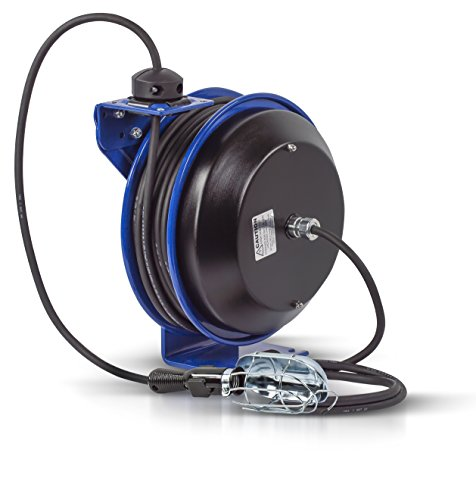Coxreels PC13-5016-E Power Cord Spring Rewind Reels: Incandescent Cage Light, 50' cord, 16 AWG
