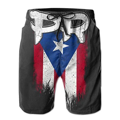 Men's Swim Trunks Puerto Rico Pr Flag Casual Bathing Suit Sports Quick Dry Side Pockets Beach Shorts Summer White