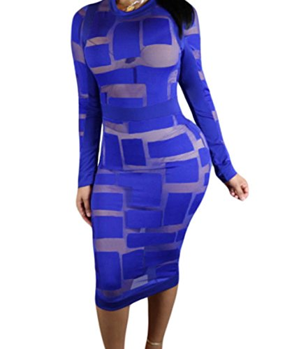 YFFaye Women's Royal Blue Sheer Mesh Patchwork Long Sleeve Dress (Abba Fancy Dress Outfits)