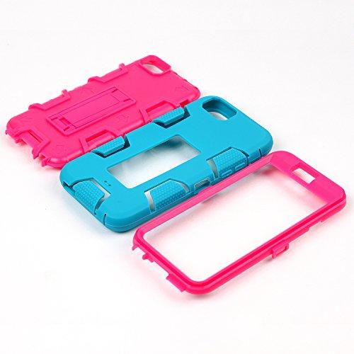 iPhone 6 6S Hülle , Heavy Duty Kickstand Rot PU Harte Rüstung Tasche Schutzhülle Shockproof Handyhülle Stoßdämpfende Schale Fall Case Shell Halter für Apple iPhone 6 6S