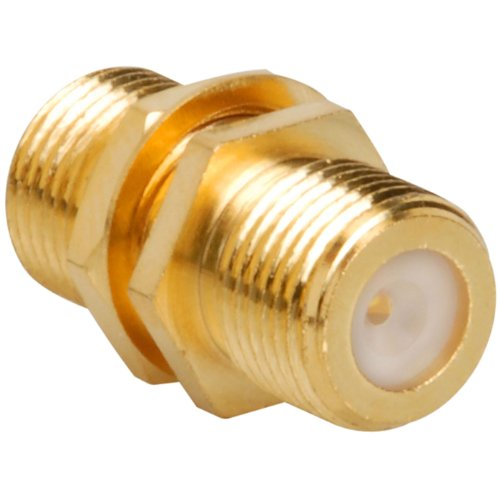 Gold F-81 F-Female to F-Female Coaxial Coupler with Nut & Washer