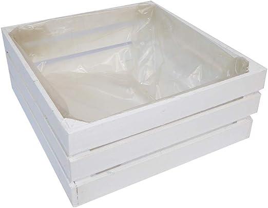 Zelda Bomboniere - Caja Cuadrada Blanca, 21 x 21 x 9 cm, decoración de Madera: Amazon.es: Hogar