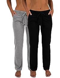 Women's 2 Pack Ultra Soft French Terry Cotton Drawstring Yoga Lounge Long Pants