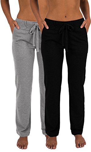 Sexy Basics Women's 2 Pack Ultra Soft French Terry Cotton Drawstring Yoga Lounge Long Pants (2 Pack- Black & Grey, Large) ()