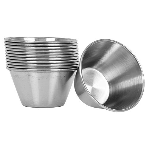 (12 Pack) 3-Ounce Sauce Cups, Commercial Grade Stainless Steel Dipping Sauce Cups, Individual Condiment Cups / Ramekins by Tezzorio by Tezzorio Tabletop Service