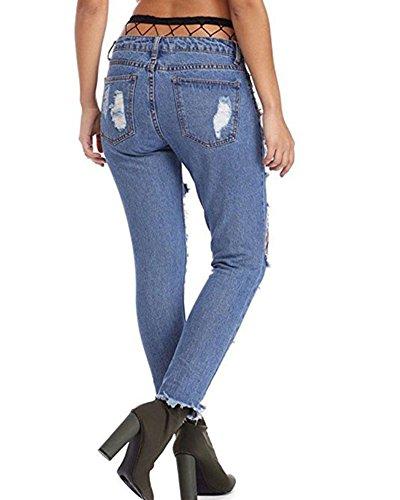De Agujeros Negra Rejilla Mezclilla Skinny Rotos Medias Jeans Vaqueros Rasgados Flacos Marino Mujer Azul Pantalones qxn8wXS0f