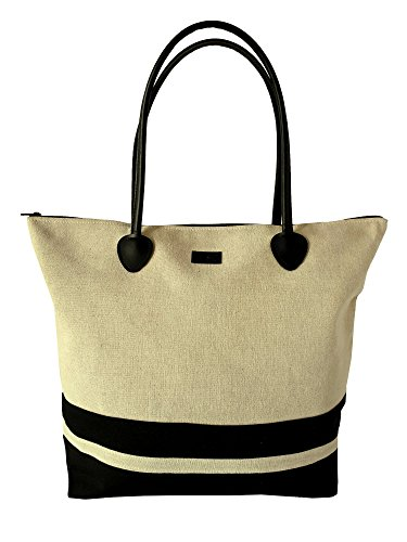 Le Sac Tote Shoulder Beach Bag In Canvas Striped Large Foldable (Black Striped Handbag)