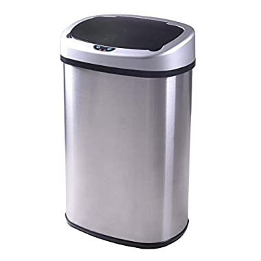 Best Office Touch-free Sensor Automatic Stainless Steel Trash Can 13-Gallon