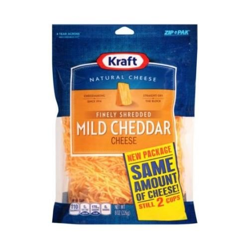 Kraft Zip Pak Finely Shredded Mild Cheddar Cheese, 8 Ounce -- 12 per case.