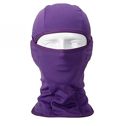Purple Walking Man Windproof 7in1 Balaclava Ski Face Mask