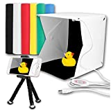Donwell Portable Photo Studio Tent Light Box Folding Photography Shooting Kit with Adjustable LED Lights and 6 Colors Background New 2018 (Size: 9.8'' x 9.5'' x 9'')
