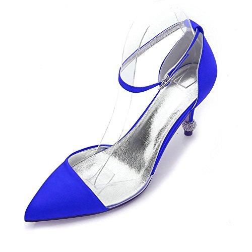 yc De F17767 Mujer Boda Noche 20 Bomba Verano Fiesta Zapatos Blue L Satén Plata Y Púrpura Primavera Sqd6wEfn