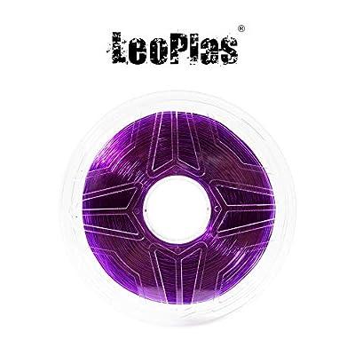 LeoPlas New Store USA Warehouse 1.75mm Soft Flexible Translucent Purple TPU Filament 16 Colors 1Kg 2.2 Pounds FDM 3D Printer Pen Supplies Printing Material Thermoplastic Polyurethanes