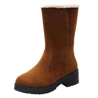 Amazon.com | Women Square Heel Snow Boots Middle Tube