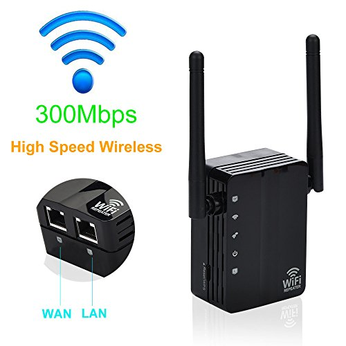 Glumes 300Mbps Wireless Repeater Router WiFi Repeater Signal Booster Network Router (black) by Glumes