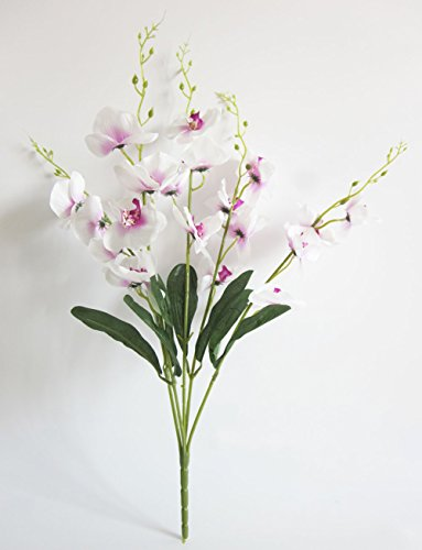 Purple Orchid Bouquet (Artificial Butterfly Orchid Flower Artfen Silk Flower Bouquet Artificial Flower Plant For Wedding Home Decoration 24'' High Purple-White)