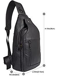 Genuine Full Grain Leather Crossbody Sling Bag Travel Hiking Backpack Daypacks