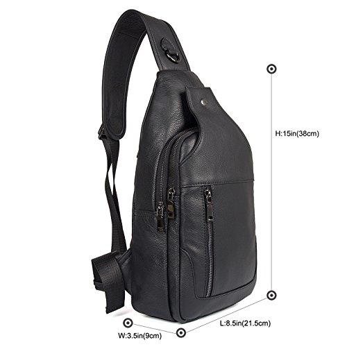 Texbo Genuine Full Grain Leather Body Sling Bag Travel Hiking Backpack Daypacks