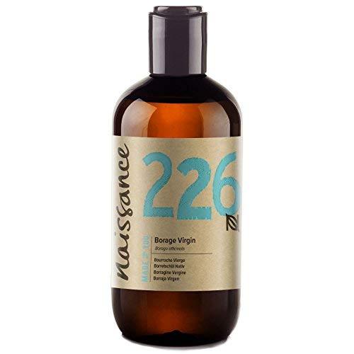 Naissance Virgin Borage (Starflower) Oil 8.5 fl oz /250ml - Naturally High in GLA (Gamma-Linolenic Acid) Pure, UK Certified Organic, PA Free, Cold Pressed & Vegan - Balancing & Nourishing -
