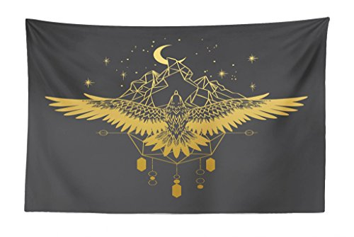- Lunarable Tribal Tapestry, Soaring Eagle Starry Night Over Mountains Tattoo Style, Fabric Wall Hanging Decor for Bedroom Living Room Dorm, 45