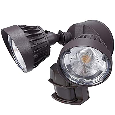 LEONLITE White/Brown 30W Dual-Head Motion Activated LED Security Light, Warm White (3000k)/Daylight (5000k)