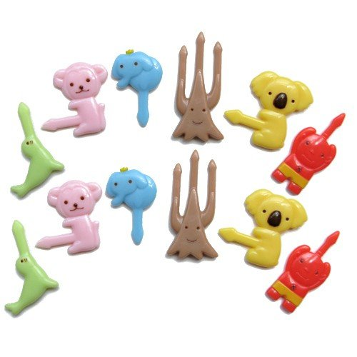 (CuteZCute Bento Food Pick, 12-Piece, Koala, Tree (Color may)