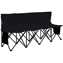 Yaheetech Portable 4 Seats Sports Bench Sits Team Sports Sideline Bench Outdoor Waterproof w/Side Bag & Back,Black/Blue