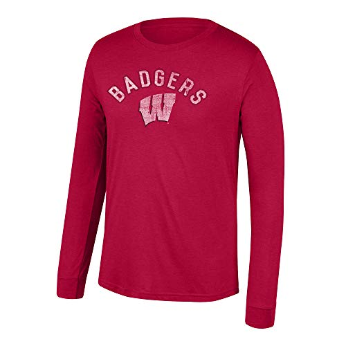 Top of the World NCAA Men's Wisconsin Badgers Team Color Heritage Tri-blend Long Sleeve Tee Vintage Red X Large Blend Long Sleeve Tee