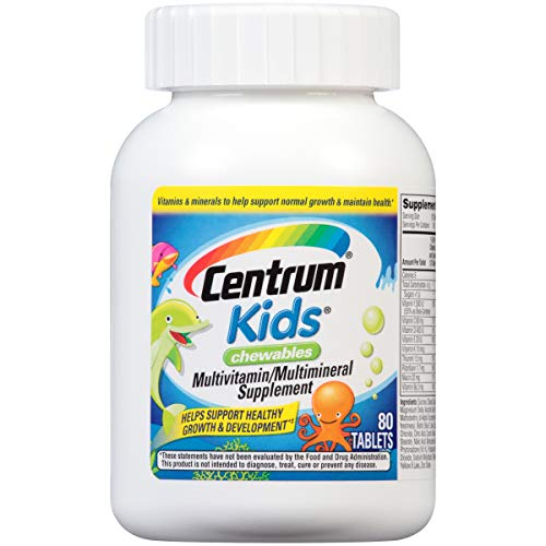 Cherry Zinc Vitamins - Centrum Kids Multivitamin/Multimineral Supplement (Cherry, Orange, & Fruit Punch Flavor, 80-Count Chewables)