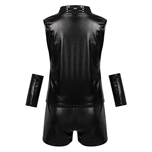 iEFiEL Kids Boys Girls Hip-hop Jazz Performance Costumes Dancing Clothes Shiny Sleeveless Top Vest Shorts Wrist Dancewear Black 12-14 -