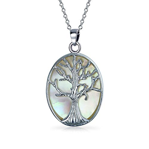 - Bling Jewelry Sterling Silver Reversible Mother of Pearl Tree of Life Pendant