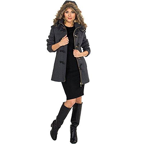 a2d902e6d alpine swiss Women's AS709 Duffy Wool Coat Fur Trim Hooded Parka Jacket,  Gray, XL