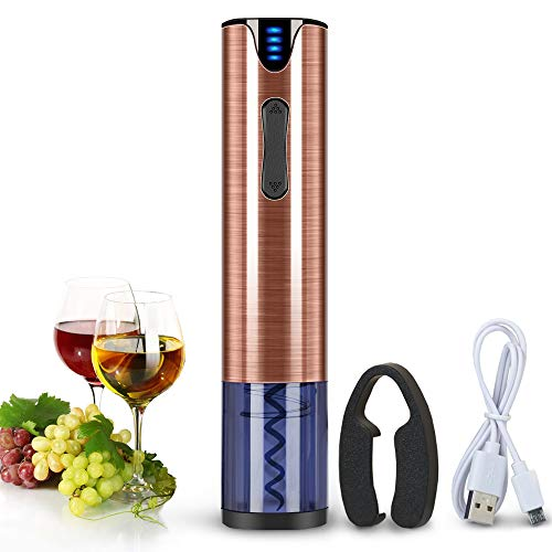 FLASNAKE Electric Wine Opener Rechargeable Cordless Automatic Corkscrew Wine Bottle Opener with Foil Cutter Stainless Steel Rose Gold