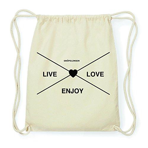 JOllify GRÖPELINGEN Hipster Turnbeutel Tasche Rucksack aus Baumwolle - Farbe: natur Design: Hipster Kreuz