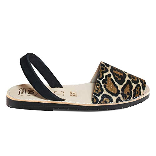 Avarcas Sandals for Women - Handmade in Spain with Natural Leather- Slip on/Slingback Flats (US 10 (EU 40), Leopard)