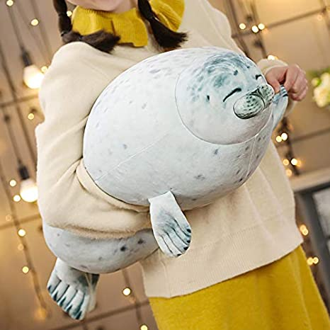 Cute Seal Pillow Stuffe Toy Baby Animated Stuffed Cotton Plush Animal Toy Cute Ocean Pillow Pets Doll for Girl Wife Femal Friends OMGOD Chubby Blob Seal Pillow Plush Toy Gray-31