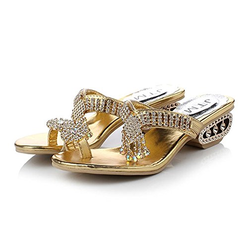 Girllike Women's Toe Ring Summer Beach Party Get Together School Carnival Casual Evening Slipper Sandals (6.5 B(M) US Women/CN 36, Gold)