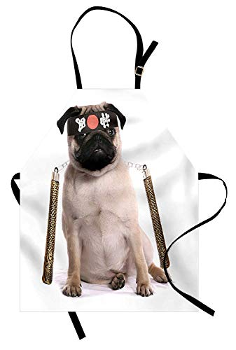 COVASA Pug Apron, Ninja Puppy with Nunchuk Karate Dog Eastern Warrior Inspired Costume Pug Image, Unisex Kitchen Bib Apron with Adjustable Neck for Cooking Baking Gardening, Cream Black Gold