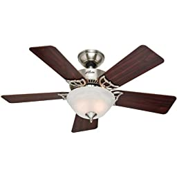 Hunter 51015 The Kensington 42-inch Brushed Nickel Ceiling Fan with Five Cherry/Maple Blades and Bowl Light Kit