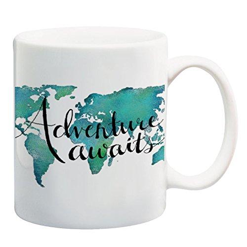 - Paintspiration Adventure Awaits 11 oz Mug World Map Mug Travel Quote Coffee Mug