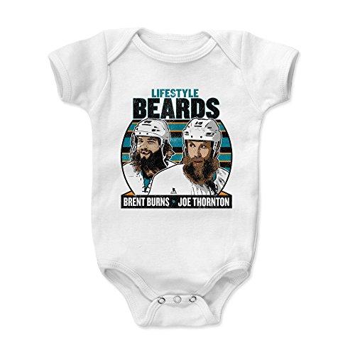 500 LEVEL Brent Burns San Jose Sharks Baby Clothes, Onesie, Creeper, Bodysuit (3-6 Months, White) - Brent Burns Lifestyle Beards K